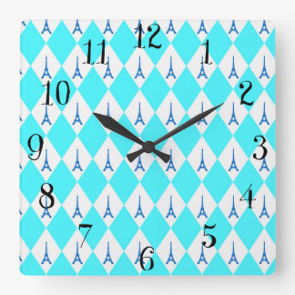 A girly neon teal diamond eiffel tower pattern square wall clock