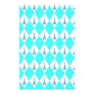 A girly neon teal diamond eiffel tower pattern stationery