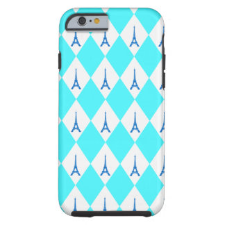 A girly neon teal diamond eiffel tower pattern tough iPhone 6 case
