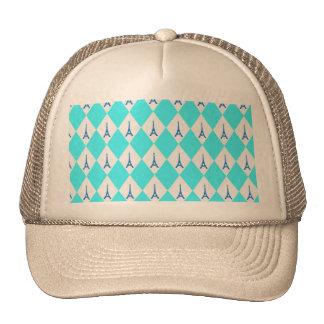 A girly neon teal diamond eiffel tower pattern trucker hat