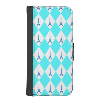 A girly neon teal diamond eiffel tower pattern wallet phone case for iPhone SE/5/5s