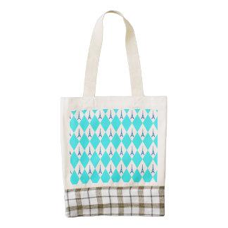 A girly neon teal diamond eiffel tower pattern zazzle HEART tote bag