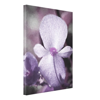A Girly Sparkly Purple Flower with Gray and Black Canvas Print