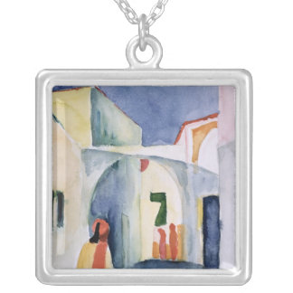 A Glance Down an Alley Silver Plated Necklace