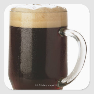 A glass of dark beer square sticker