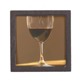 A glass of red Chateau Belgrave in sunlight - Keepsake Box