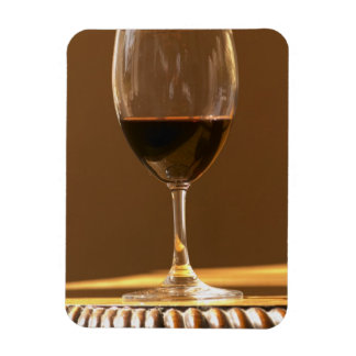 A glass of red Chateau Belgrave in sunlight - Magnet