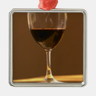 A glass of red Chateau Belgrave in sunlight - Metal Ornament