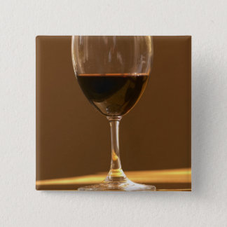 A glass of red Chateau Belgrave in sunlight - Pinback Button