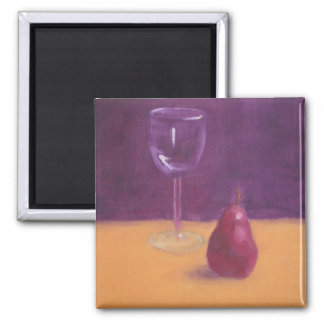 """""""A glass of red wine a day..."""" 2 Inch Square Magnet"""