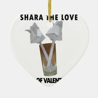A glass of valentine peace. ceramic ornament