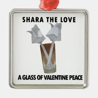 A glass of valentine peace. metal ornament