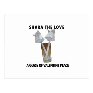 A glass of valentine peace. postcard