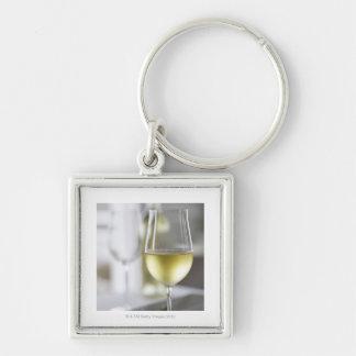 A glass of white wine 2 keychain