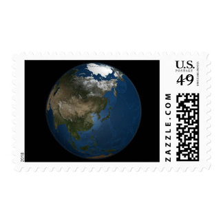 A global view over Asia with Arctic sea ice Postage