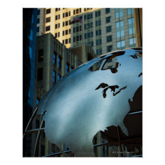 A globe with a stainless steel North America Poster