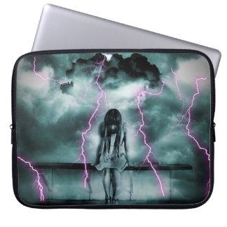 A Gloomy Girl in Storm Computer Sleeve
