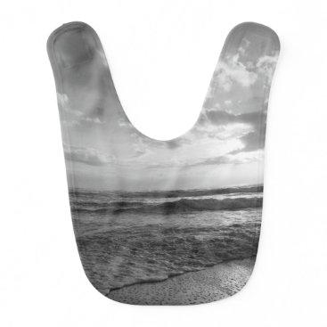 Beach Themed A Glorious Beach Morning Grayscale Baby Bib