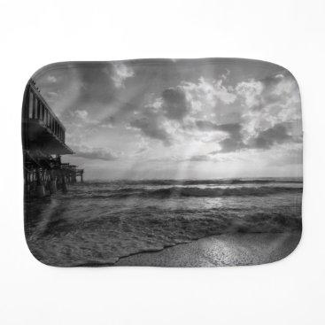 Beach Themed A Glorious Beach Morning Grayscale Burp Cloth