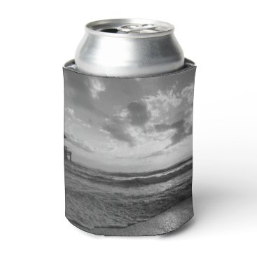 Beach Themed A Glorious Beach Morning Grayscale Can Cooler