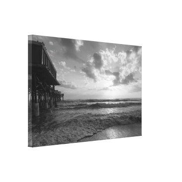 Beach Themed A Glorious Beach Morning Grayscale Canvas Print