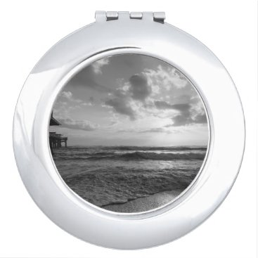 Beach Themed A Glorious Beach Morning Grayscale Compact Mirror