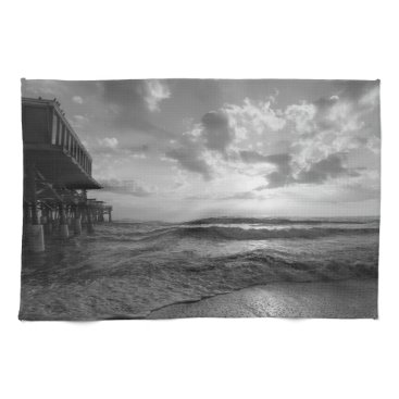 Beach Themed A Glorious Beach Morning Grayscale Kitchen Towels