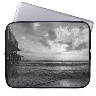 Beach Themed A Glorious Beach Morning Grayscale Laptop Sleeve