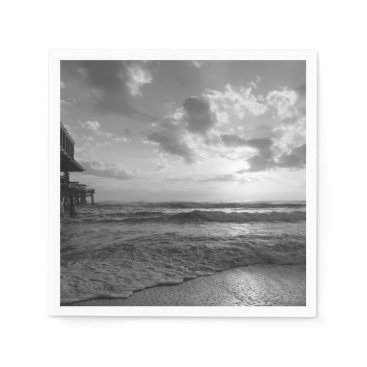 Beach Themed A Glorious Beach Morning Grayscale Paper Napkin
