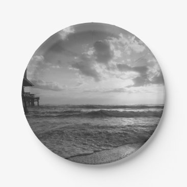 Beach Themed A Glorious Beach Morning Grayscale Paper Plate