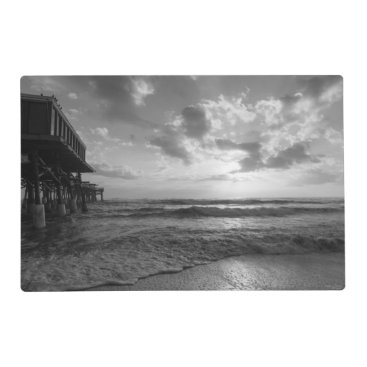 Beach Themed A Glorious Beach Morning Grayscale Placemat