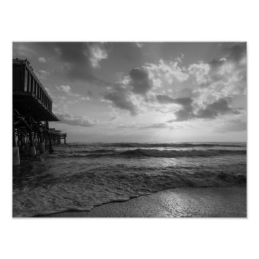 Beach Themed A Glorious Beach Morning Grayscale Poster