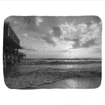 Beach Themed A Glorious Beach Morning Grayscale Receiving Blanket