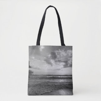 A Glorious Beach Morning Grayscale Tote Bag