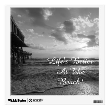 Beach Themed A Glorious Beach Morning Grayscale Wall Decal