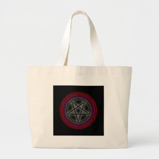 A glowing pentagram large tote bag