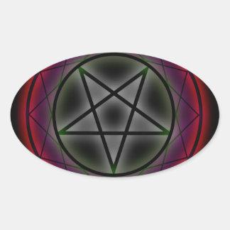 A glowing pentagram oval sticker