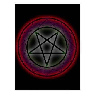 A glowing pentagram postcard