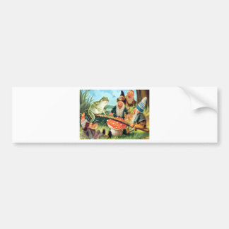 A Gnome and Frog on a Mushroom Seesaw Bumper Sticker