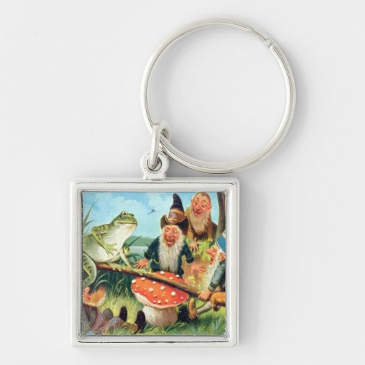 A Gnome and Frog on a Mushroom Seesaw Keychain