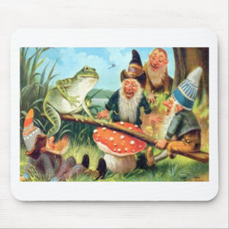 A Gnome and Frog on a Mushroom Seesaw Mouse Pad