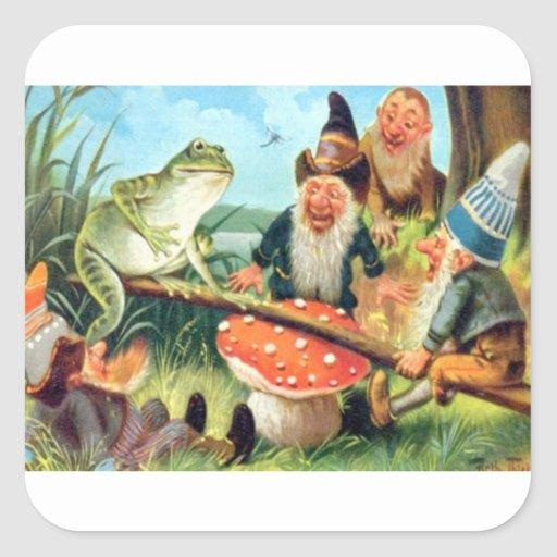 A Gnome and Frog on a Mushroom Seesaw Square Sticker
