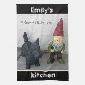 A gnome and his dog kitchen towel