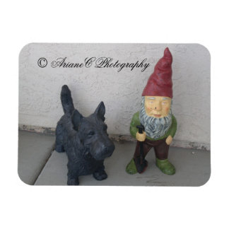 A gnome and his dog premium magnet