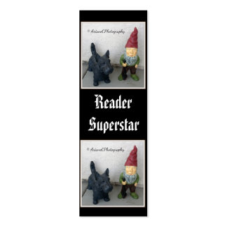 A gnome and his dog tiny bookmarks business card template