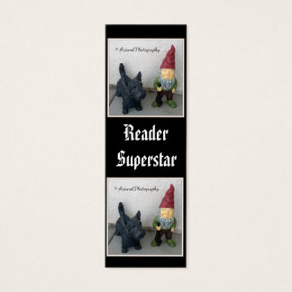 A gnome and his dog tiny bookmarks mini business card