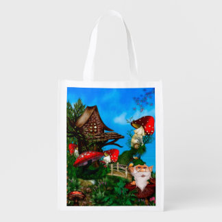 A Gnome for my Garden Fantasy Art Grocery Bag