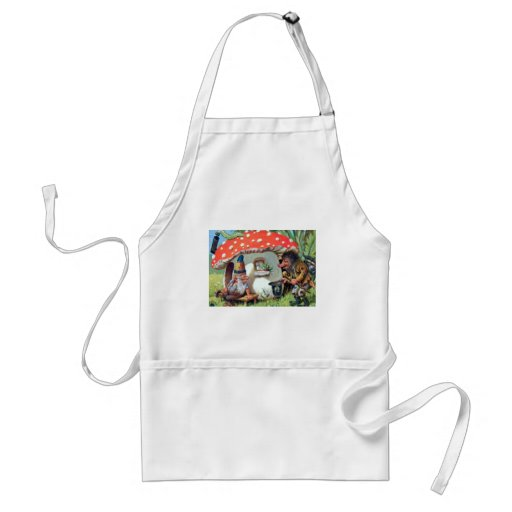 A Gnome Living in a Mushroom Cottage Adult Apron