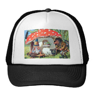 A Gnome Living in a Mushroom Cottage Trucker Hat