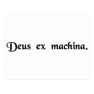 A god from a machine. postcard